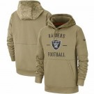 Youth Oakland Raiders Tan 2019 Salute to Service Sideline Therma Printed Pullover Hoodie