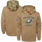 Youth Philadelphia Eagles Khaki 2019 Salute to Service Therma Printed Pullover Hoodie