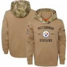 Youth Pittsburgh Steelers Khaki 2019 Salute to Service Therma Printed Pullover Hoodie