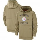 Youth Pittsburgh Steelers Tan 2019 Salute to Service Sideline Therma Printed Pullover Hoodie
