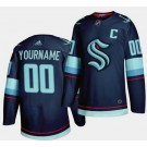 Youth Seattle Kraken Customized Navy Home Authentic Jersey