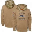 Youth Seattle Seahawks Khaki 2019 Salute to Service Therma Printed Pullover Hoodie