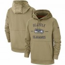 Youth Seattle Seahawks Tan 2019 Salute to Service Sideline Therma Printed Pullover Hoodie