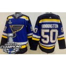 Youth St Louis Blues #50 Jordan Binnington Blue 2019 Stanley Cup Champions Jersey