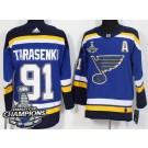 Youth St Louis Blues #91 Vladimir Tarasenko Blue 2019 Stanley Cup Champions Jersey