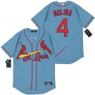 Youth St Louis Cardinals #4 Yadier Molina Blue 2020 Cool Base Jersey