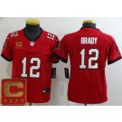 Youth Tampa Bay Buccaneers #12 Tom Brady Limited Red Captain Patch Vapor Untouchable Jersey