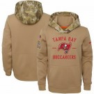Youth Tampa Bay Buccaneers Khaki 2019 Salute to Service Therma Printed Pullover Hoodie
