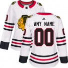 Women's Chicago Blackhawks Customized White Authentic Jersey
