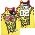 Men's Above The Rim #02 2Pac Yellow Basketball Jersey