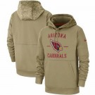 Men's Arizona Cardinals Tan 2019 Salute to Service Sideline Therma Printed Pullover Hoodie