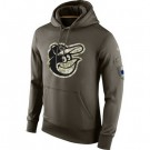 Men's Baltimore Orioles Green Salute To Service Printed Pullover Hoodie