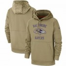 Men's Baltimore Ravens Tan 2019 Salute to Service Sideline Therma Printed Pullover Hoodie