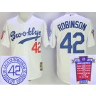 Men's Brooklyn Dodgers #42 Jackie Robinson White Commemoration Cooperstown Throwback Cool Base Jersey