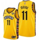 Men's Brooklyn Nets #11 Kyrie Irving Yellow 2021 City Icon Hot Press Jersey