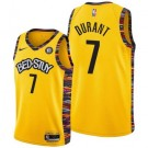 Men's Brooklyn Nets #7 Kevin Durant Yellow 2021 City Icon Hot Press Jersey