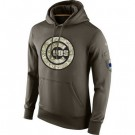 Men's Chicago Cubs Green Salute To Service Printed Pullover Hoodie