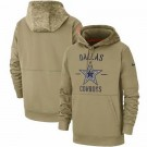 Men's Dallas Cowboys Tan 2019 Salute to Service Sideline Therma Printed Pullover Hoodie