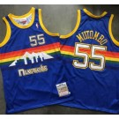 Men's Denver Nuggets #55 Dikembe Mutombo Blue 1991 Throwback Authentic Jersey