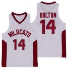 Men's East High School Wildcats #14 Troy Bolton White Basketball Jersey