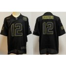 Men's Green Bay Packers #12 Aaron Rodgers Limited Black 2020 Salute To Service Jersey