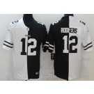 Men's Green Bay Packers #12 Aaron Rodgers Limited Black White Split Jersey