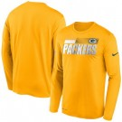 Men's Green Bay Packers Yellow Sideline Impact Legend Performance Long Sleeves T Shirt 620