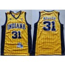Men's Indiana Pacers #31 Reggie Miller Yellow Stripes Hollywood Classic Throwback Swingman Jersey