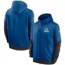 Men's Indianapolis Colts Blue Sideline Impact Lockup Performance Full Zip Pullover Hoodie