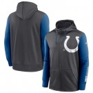 Men's Indianapolis Colts Charcoal Royal Fan Gear Mascot Performance Full Zip Hoodie