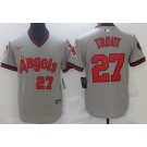 Men's Los Angeles Angels #27 Mike Trout Gray Throwback Cool Base Jersey