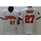 Men's Los Angeles Angels #27 Mike Trout White Throwback Cool Base Jersey