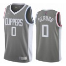 Men's Los Angeles Clippers #0 Jay Scrubb Gray 2021 Earned Icon Hot Press Jersey
