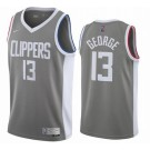 Men's Los Angeles Clippers #13 Paul George Gray 2021 Earned Icon Hot Press Jersey
