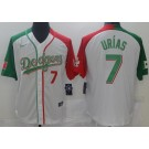 Men's Los Angeles Dodgers #7 Julio Urias White Two Tone Mexican Heritage Night Cool Base Jersey