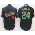 Men's Los Angeles Dodgers #8#24 Kobe Bryant Black Mexican World Series Cool Base Jersey