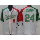 Men's Los Angeles Dodgers #8#24 Kobe Bryant White Two Tone Mexican Heritage Night Cool Base Jersey