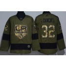 Men's Los Angeles Kings #32 Jonathan Quick Green Salute To Service Authentic Jersey
