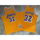 Men's Los Angeles Lakers #32 Magic Johnson Yellow 1984 Throwback Authentic Jersey
