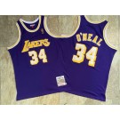 Men's Los Angeles Lakers #34 Shaquille O'Neal Purple Purple 1996 Throwback Authentic Jersey