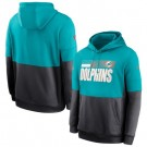 Men's Miami Dolphins Aqua Charcoal Sideline Impact Lockup Performance Pullover Hoodie