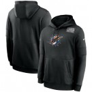 Men's Miami Dolphins Black Crucial Catch Sideline Performance Pullover Hoodie