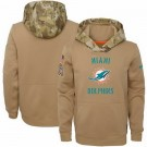 Men's Miami Dolphins Khaki 2019 Salute to Service Therma Printed Pullover Hoodie