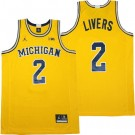 Men's Michigan Wolverines #2 Isaiah Livers Yellow College Basketball Jersey