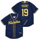 Men's Milwaukee Brewers #19 Robin Yount Navy Alternate Cool Base Jersey