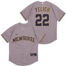 Men's Milwaukee Brewers #22 Christian Yelich Gray Cool Base Jersey