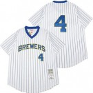 Men's Milwaukee Brewers #4 Paul Molitor White 1982 Throwback Jersey