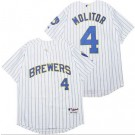 Men's Milwaukee Brewers #4 Paul Molitor White Turn Back The Clock Jersey Jersey