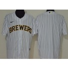 Men's Milwaukee Brewers Blank White 2020 Cool Base Jersey