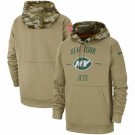Men's New York Jets Tan 2019 Salute to Service Sideline Therma Printed Pullover Hoodie